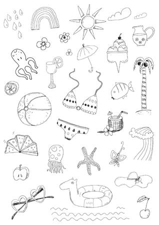 Beach summer hand drawn doodle vector set