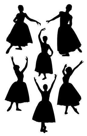 Silueta de bailarina sobre fondo blanco. Conjunto de vectores de personas bailarinas