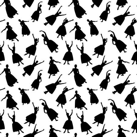 Ballerina black isolated silhouette pattern seamless. Dancer people endless vector Ilustração