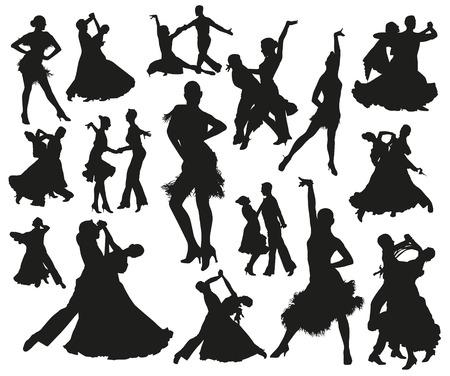 Black dancing isolated people silhouette set. Dancers waltz tango and disco Ilustração