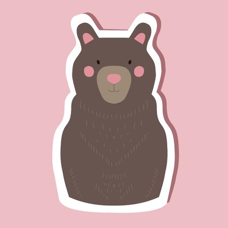Hand drawn cute isolated bear. Funny animal vector
