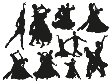 Black dancing pair isolated people silhouette set Ilustração