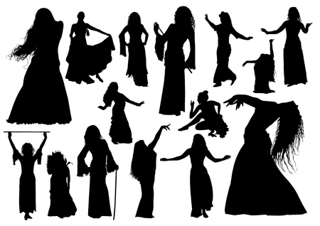 Belly dance arabic isolated black silhouettes set Ilustração
