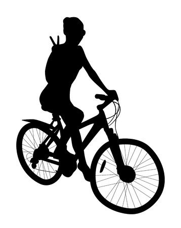 Silhouette sport cyclist female on white background.