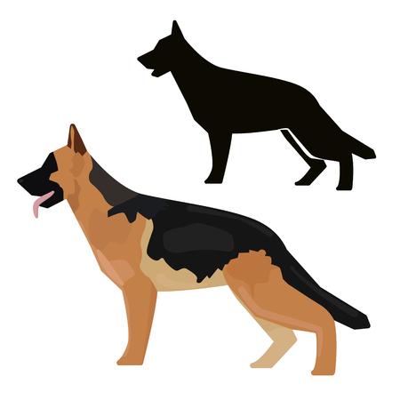 Decorative contour portrait of standing in profile German Shepherd. Ilustração