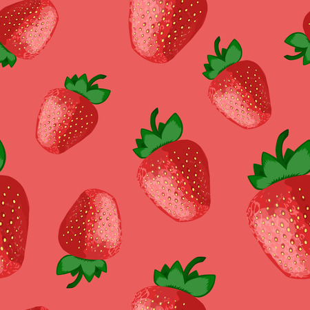 Strawberry seamless pattern illustration background. Funny fruit endless vector