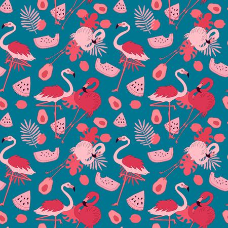 Seamless flamingo pattern. Endless vector illustration Ilustração