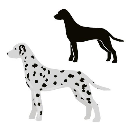 Decorative contour portrait of standing in profile Dalmatian. Ilustração