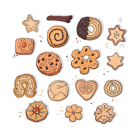 Cookies sweet vector set. Colorful hand draw illustration