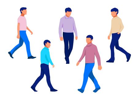 Man Walking Forward. Vector Illustration. Isolated on White Background Ilustração