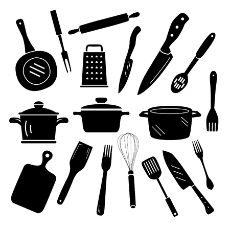 Kitchen Cooking Icons. Black and white silhouette object set. Ilustração