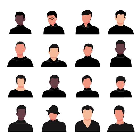 Cartoon handsome young guy portraits vector illustration. Black fashionable clothes. Man face avatar set isolated on white background Ilustração