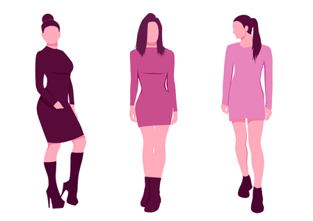 sexy woman silhouettes in short dresses. Pink style set vector