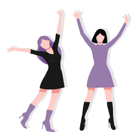 Colorful happy woman celebrating success and victory. Excited and cute woman jumping and raising arm. Vector illustration purple and black color