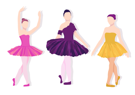 Poses of ballet set. Colorful illustration with dancing three girls