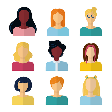 Ensemble d'icônes vectorielles isolées à plat. Collection de portraits colorés de femme