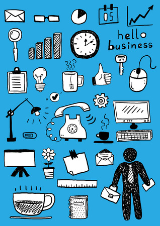 Business doodle sketch set: infographics elements isolated, vector shapes. Vector hand drawn illustration