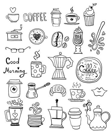 Doodle mano dibujar conjunto de dibujos de café, bocetos hechos a mano.