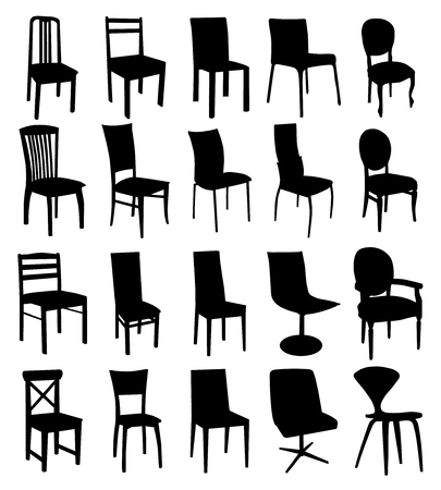 Black different forms chair silhouettes group. Vector set on white background