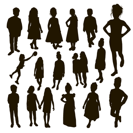 A large set of silhouettes of women mothers and men father with children, vector. Mothers day concept. Ilustração