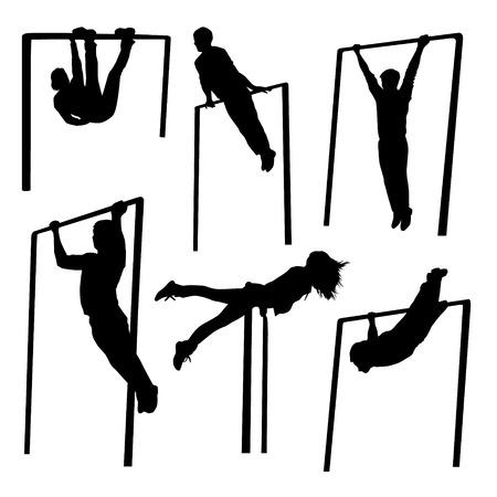 Exercise Black Silhouettes. Man with horizontal bar set Ilustração