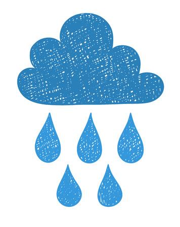Hand draw the weather cloud doodle sketch. Scribble style vector illustration. Ilustração