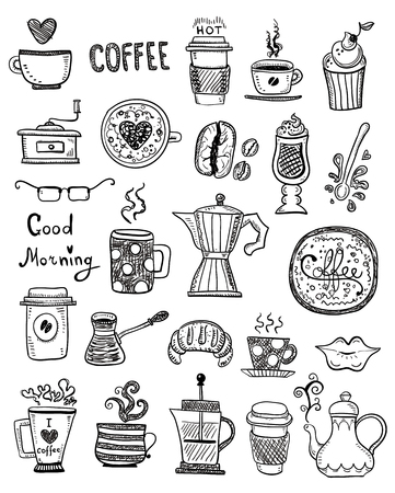 Doodle hand draw set de dessins de café, croquis faits à la main. Vecteurs