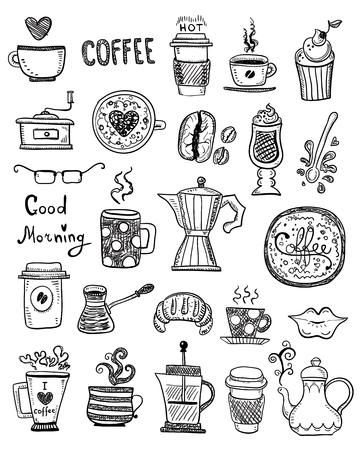 Doodle Hand zeichnen Kaffeezeichnungen, handgemachte Skizzen. Vektorgrafik