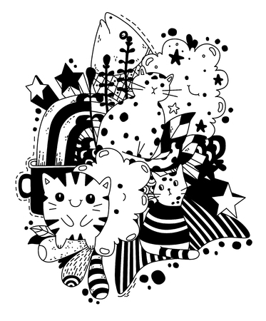 Outlined doodle anti-stress coloring cute cat with fish. Coloring book page for adults and children