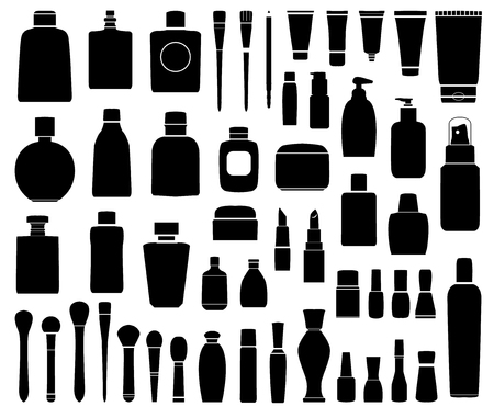 Black Simple Set of Cosmetics Related Vector Line Icons. Contains such Icons as Cream Bottle, Lipstick, Makeup Brush and more. Ilustração