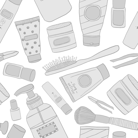 Cosmetics pattern seamless. Hand DrawVector Line wallpaper. Contains such Icons as Cream Bottle, Lipstick, Makeup Brush and more.