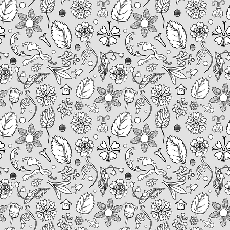 Abstract hand-drawn leafy doodle seamless pattern in black and white.