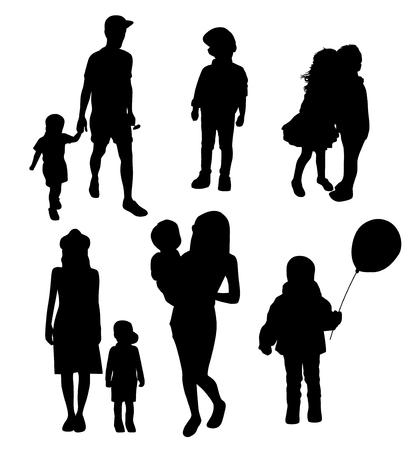 set of silhouettes of women mothers with children, vector. Mothers day concept. Векторная Иллюстрация
