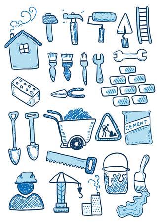 Construction sketch. Hand-drawn cartoon industry icon set. Doodle drawing. Vector illustration.