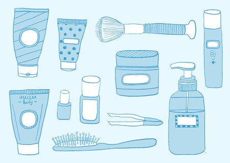 Hand Draw Simple Set of Cosmetics Related Vector Line Icons. Contains such Icons as Cream Bottle, Lipstick, Makeup Brush and more.