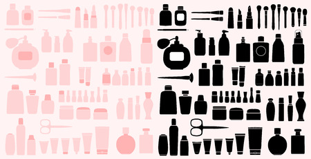 Black and Pink Simple Set of Cosmetics Related Vector Line Icons. Contains such Icons as Cream Bottle, Lipstick, Makeup Brush and more. Ilustração