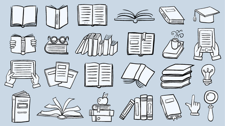 Book icon set in thin line style Vectores