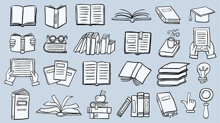Jeu d'icônes de livre dans le style de ligne mince