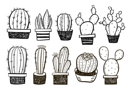 Cute hand drawn vector cactuse in the pots set. Vector succulent set.