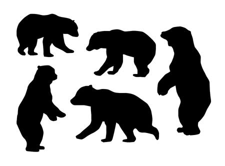 Colección de siluetas de osos. Conjunto de vectores
