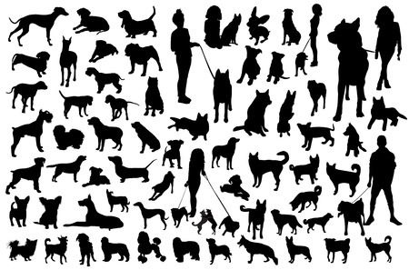 Set of dogs silhouette. Black Vector group.