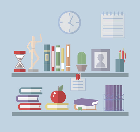 Flat Bookshelf Reading Books Illustration. Back to School and Education Vector illustration. Flat Style Books. Office and Library Interior.