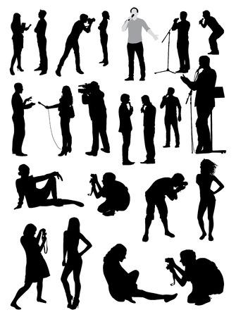Black Silhouettes of people taking photos set