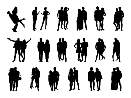 Vector set of pairs silhouettes on white background