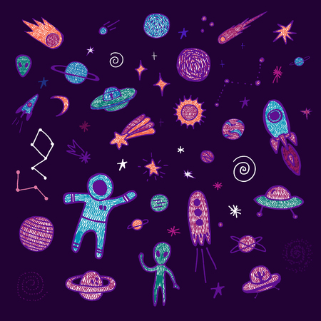 Set of space objects. Vector hand drawn illustration Illustration