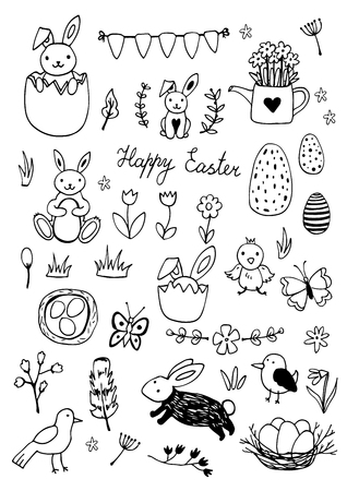 Easter traditional symbols collection - eggs, bunny, willow twigs, basket