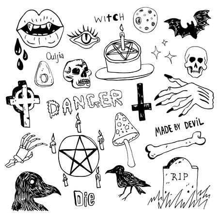 Horror set of Halloween doodle sketch set