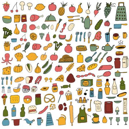 Big color food set on white background. Free hand drawn. Vector illustration. Vetores