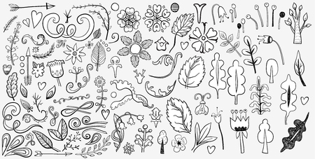 Set of colorful ornaments on white. Hand drawn ornate elements with abstract patterns on isolation background. Doodles for design and business