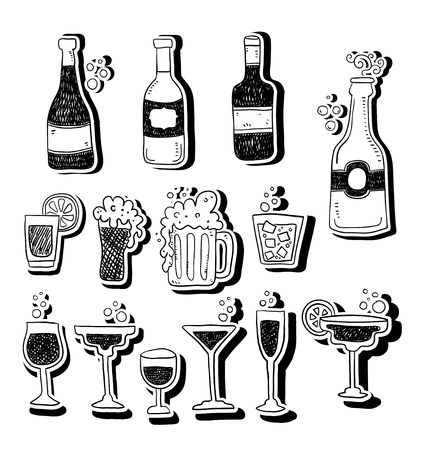 Strong drinks icons. Set of line icons on white background. Beer bottle martini margarita cocktail. Alcohol concept. Vector illustration can be used for topic like drinks, bar, menu Illustration